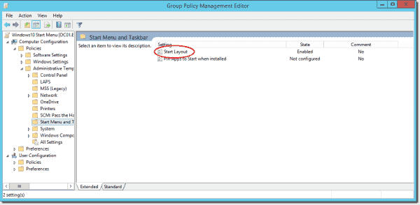 The Start Layout Group Policy