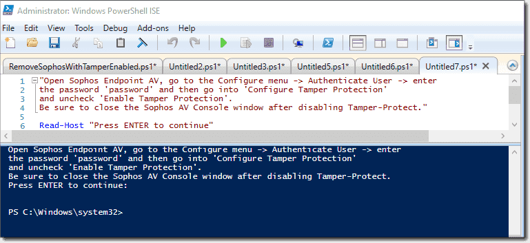 Uninstall tamper-protected Sophos Antivirus with PowerShell