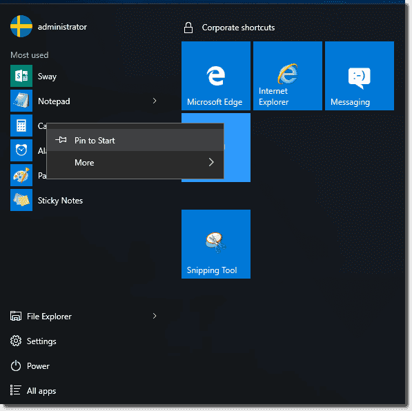 Users can pin shortcuts to the Start menu