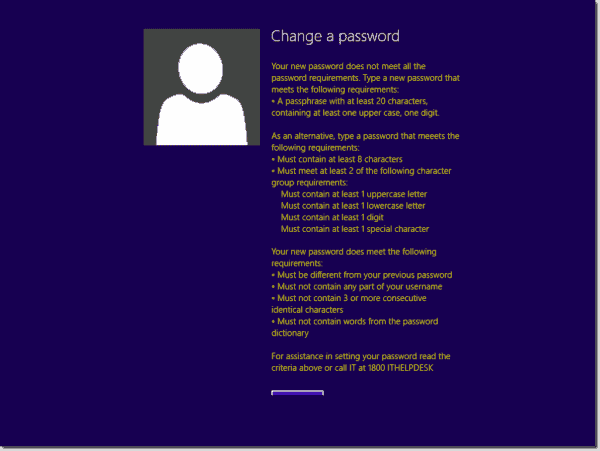 Users receive detailed guidance on changing their password
