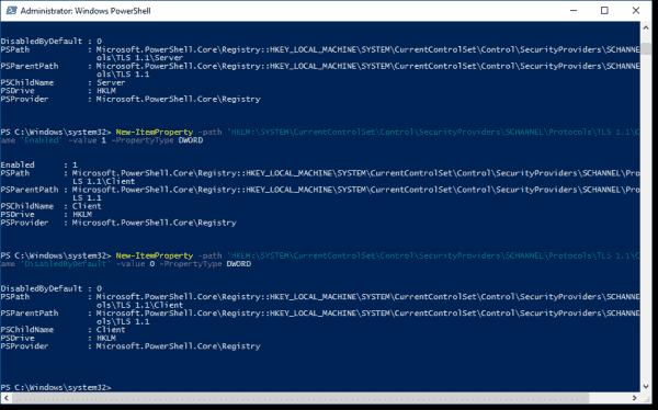 Enable TLS 1-1 1-2