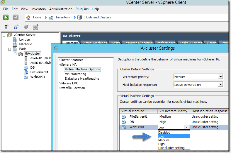 VMware High Availability (HA) cluster – HA configuration – 4sysops