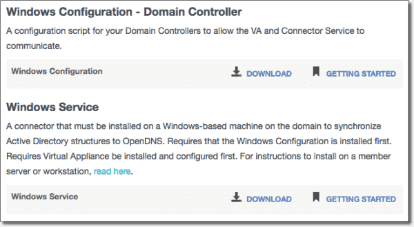 AD service and configuration script download