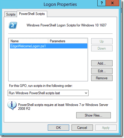 Adding a logon script in Group Policy