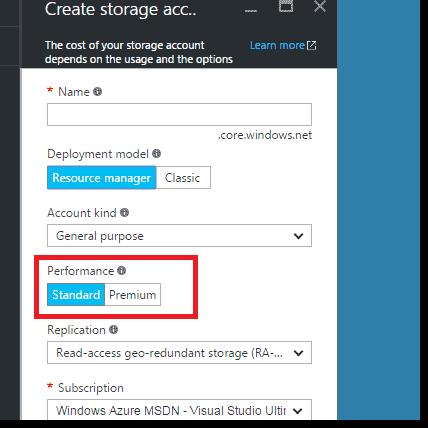 Azure portal performance options