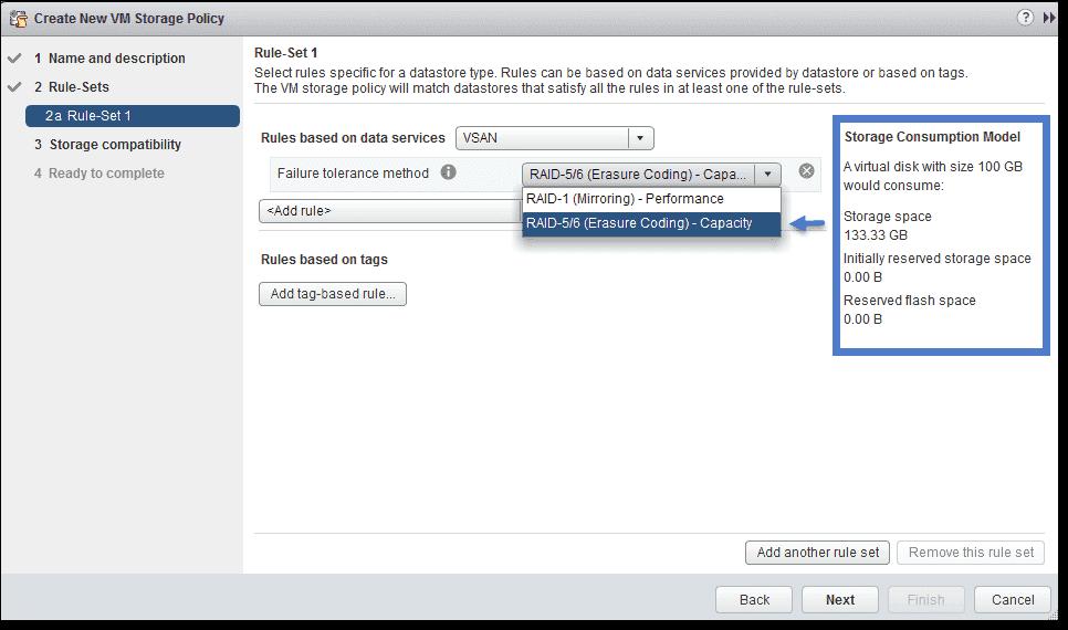 VMware VSAN – RAID 5/6 (erasure coding), deduplication, and