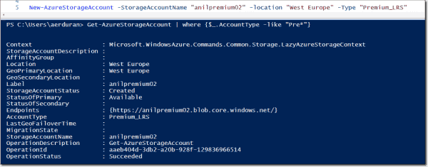 Creating a Premium Storage account with PowerShell