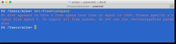 Get-FreeDiskSpace module not working on Mac OS X