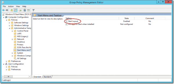 Group Policy for the Start menu and Taskbar layout