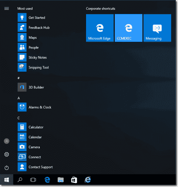 Modified Taskbar and Start menu