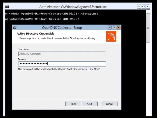 OpenDNS service account credentials