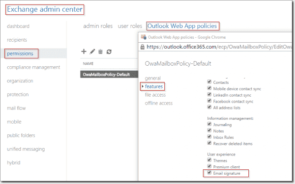 Outlook Web App policies disable signature