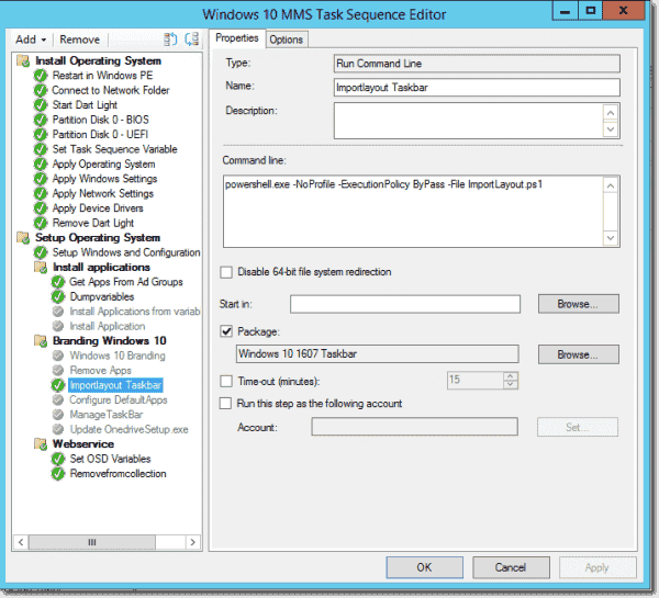Task sequence in Configuration Manager