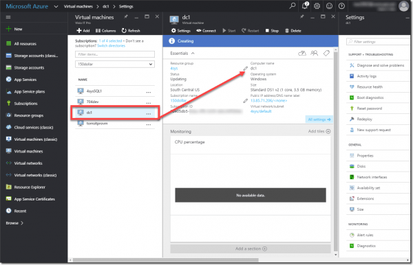 Viewing the restored server in Azure