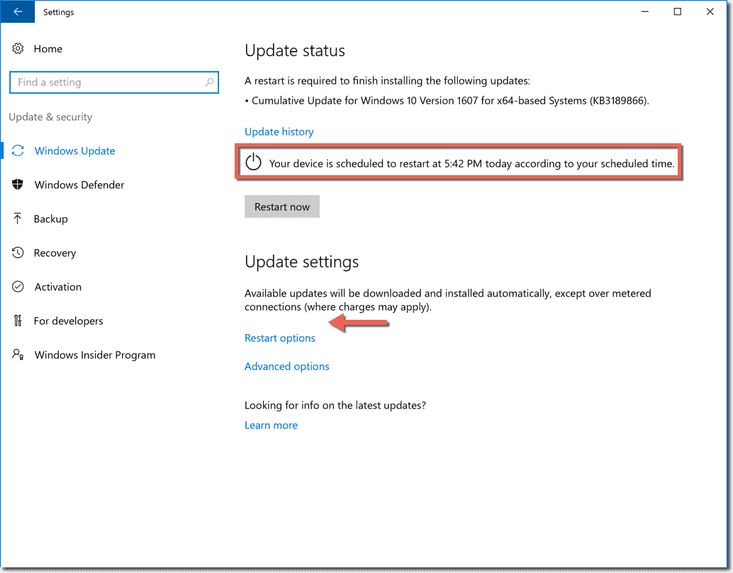 Disable updates in Windows 10 1607 (Anniversary Update