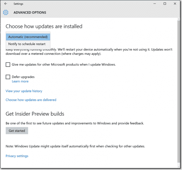 Advanced options in Windows 10 1511