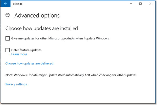 Advanced options in Windows 10 1607