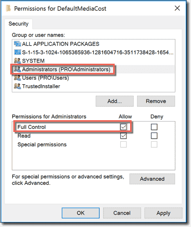 Assign Full Control permissions to Administrators