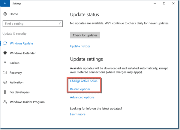 Change active hours and Restart options Windows 10 1607