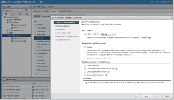 Configure the two host Virtual SAN cluster