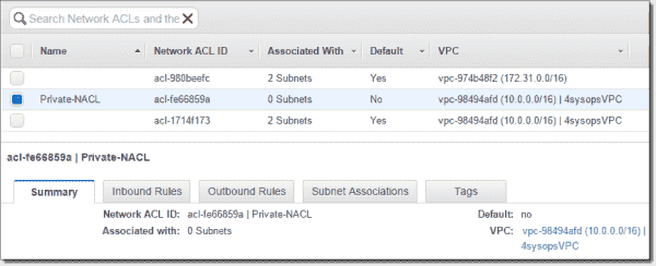 Create network ACL Private NACL