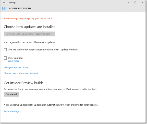 End user cant change Windows Update settings in Windows 10 1511