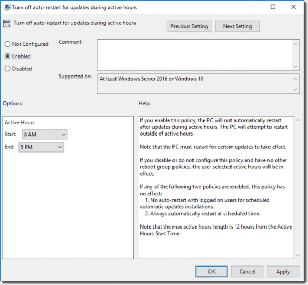 "Group Policy ""Turn off auto restart for updates during active hours"""