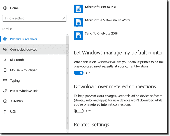 Let Windows manage my default printers