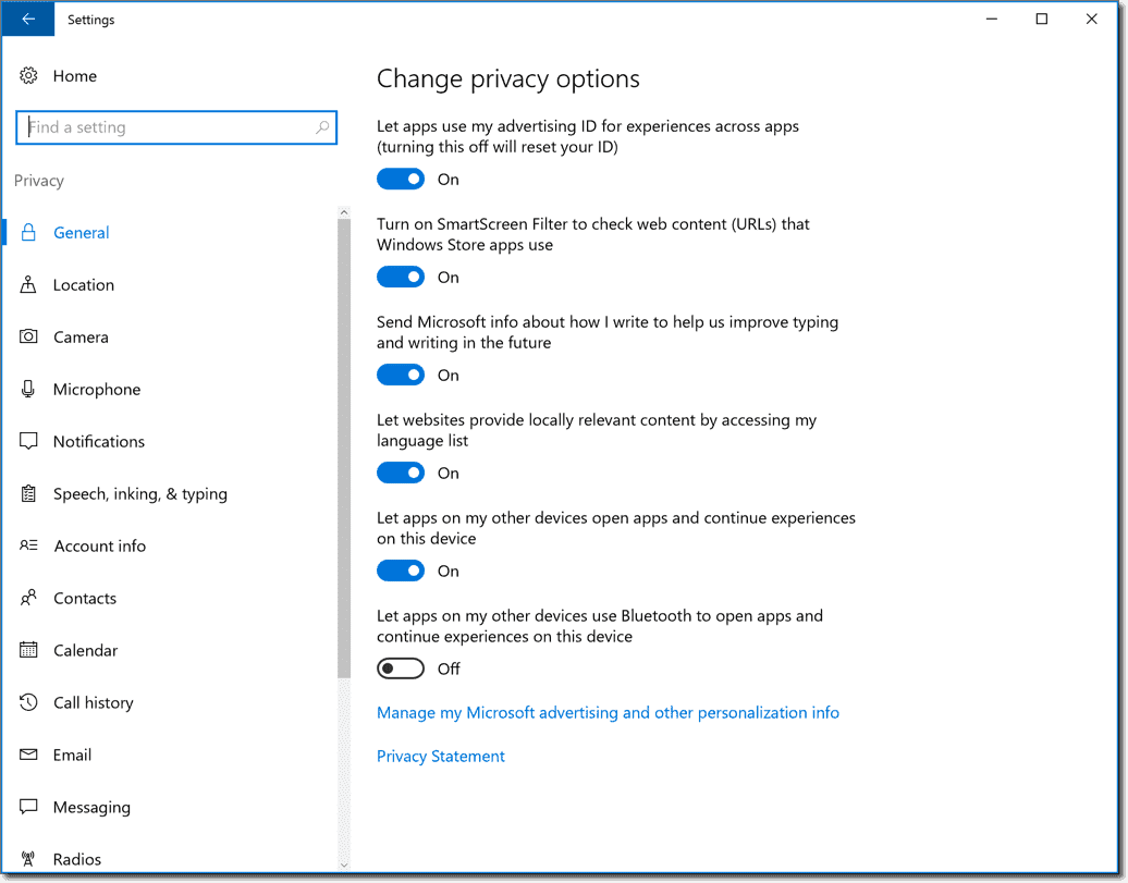 Privacy Options in Windows 10
