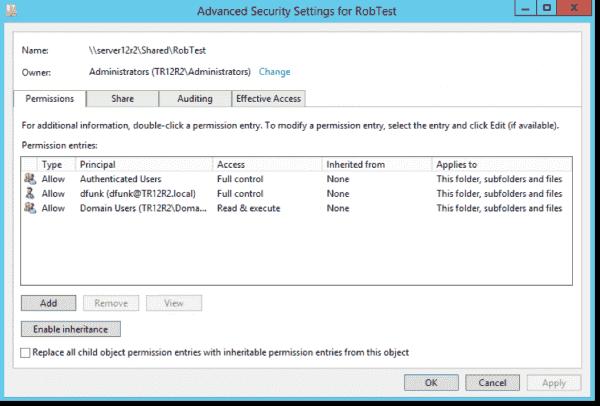 Setting folder permissions