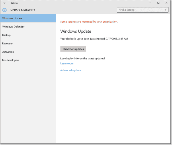 """Some settings are managed by your organization"" in Windows 10 1511"