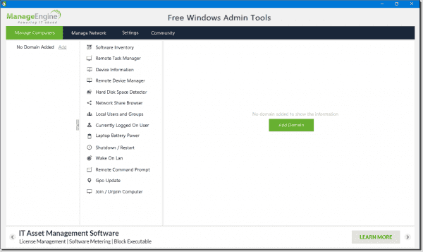 The Free Windows Admin Tools interface