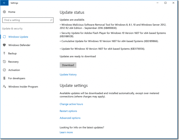 """Updates are available"" in Windows Update settings"