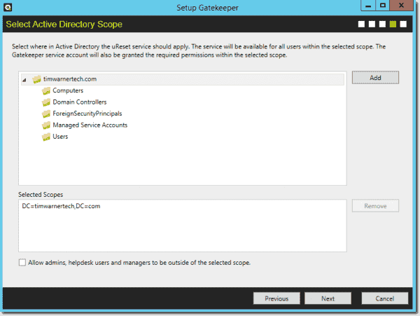 You can deploy uReset at a granular scope in AD