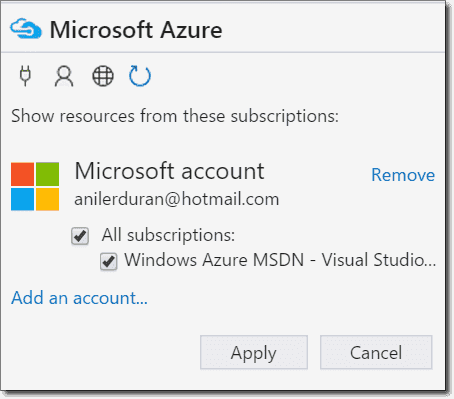 Adding an Azure account in Storage Explorer