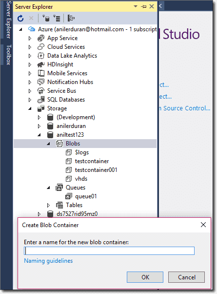 Creating a new container in Visual Studio