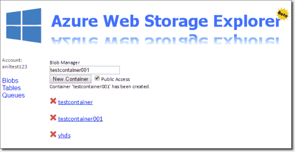 Creating new container in Azure Web Storage Explorer