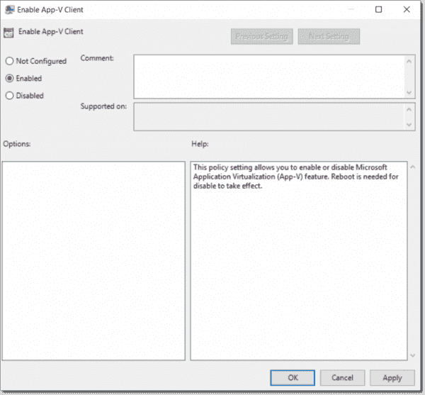 Enable Appv using Group Policy