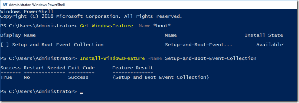 Install Setup and Boot Event Collection feature