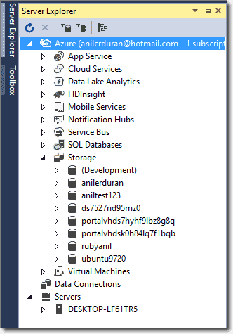Listing storage accounts in Visual Studio
