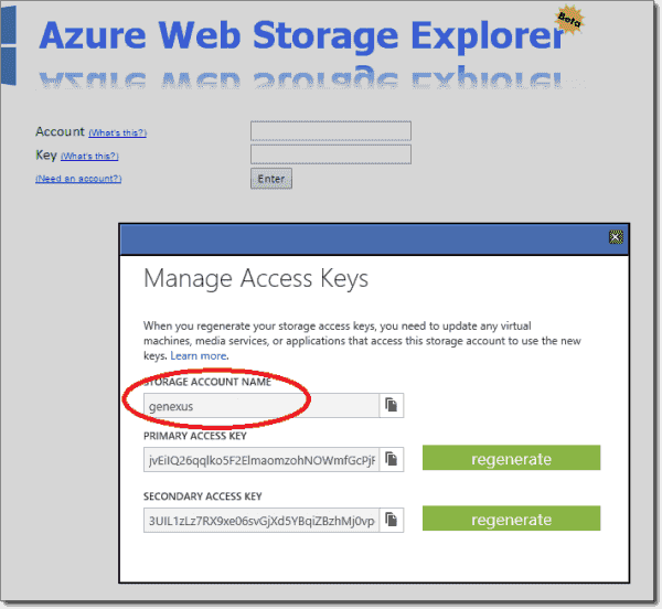Logging into Azure Web Storage Explorer