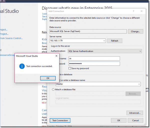 Checking remote SQL Access from Visual Studio