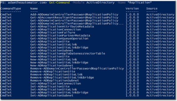 Commands inside Active Directory Module