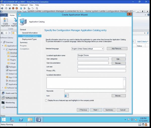Configure application catalog information