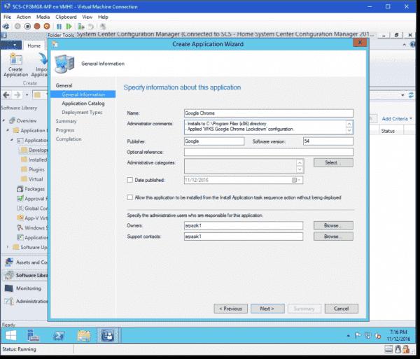 Configure application information