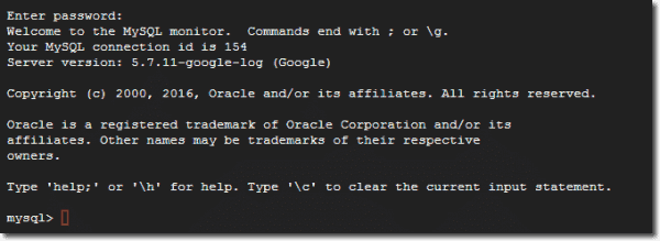 Connection to MySQL complete
