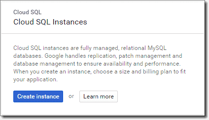 Create Cloud SQL instance