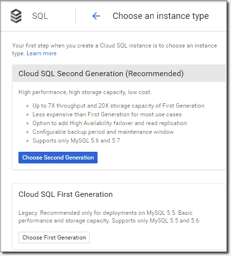 Create Second Generation Cloud SQL instance