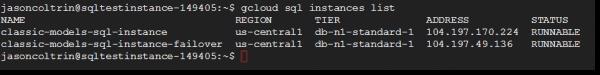 Gcloud SQL instances list