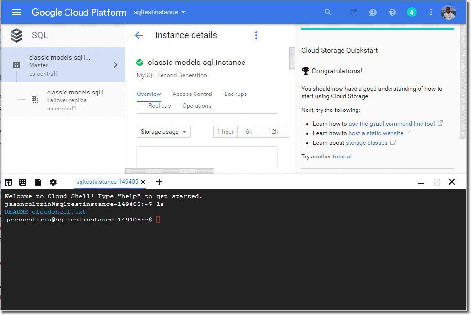 Google Cloud Shell started